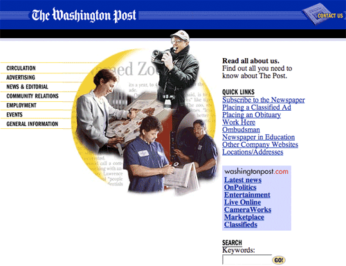 Washington Post corporate site in 2001
