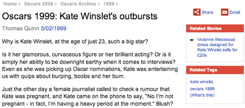 1999 article from The Mirror about kate Winslett