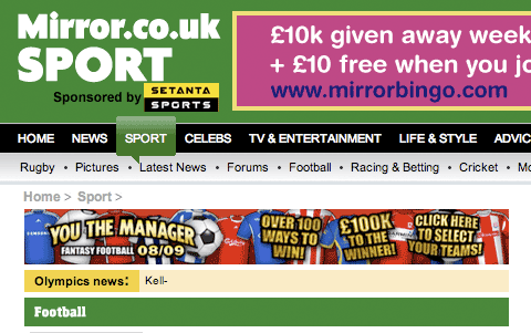 The Mirror's green sport section