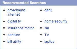 Recommended searches panel from The Mirror