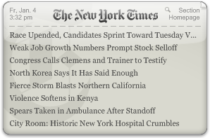 New York Times RSS reader Yahoo! Widget