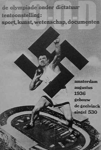 Dutch poster against the 1936 Olympics