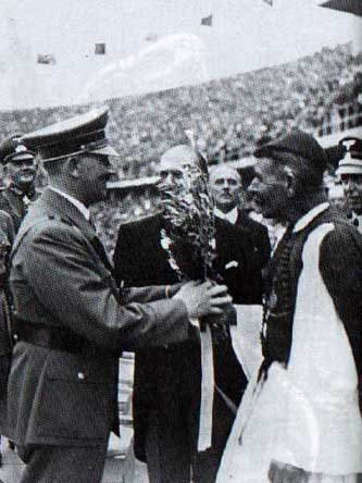 Hitler receives an olive branch from Spiridon Louis