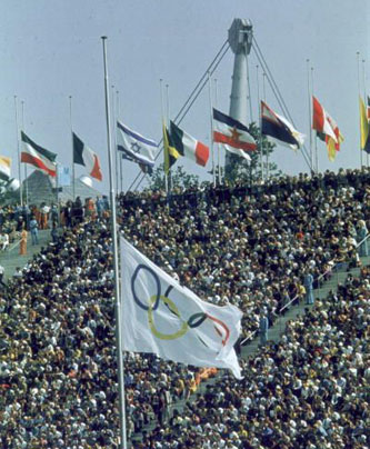 Flags at half-mast in the Olympic Stadium