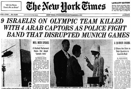 New York Times headlines about the 1972 Munich Massacre