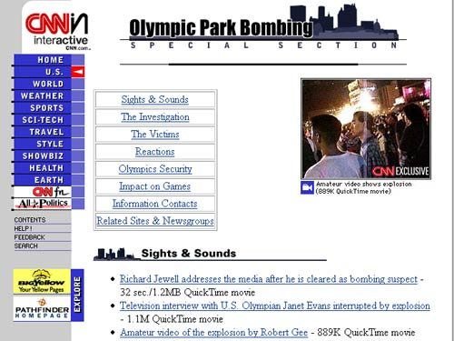 CNN web coverage of the Atlanta Olympic bombing