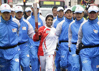 Konnie Huq on the 2008 Olympic Torch Relay