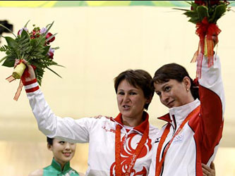 Russian and Georgian athletes on the podium