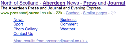 Aberdeen Press and Journal's seven Google site links