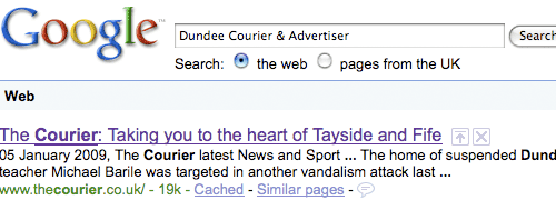 Search results for the Dundee Courier on Google