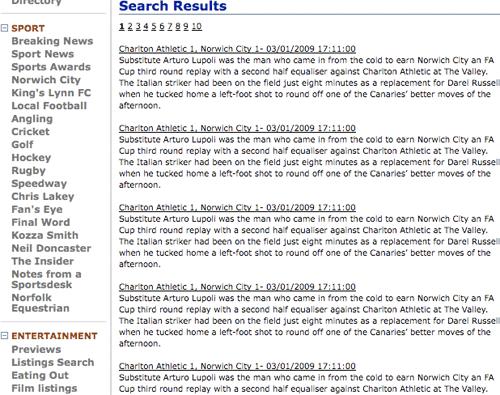 EDP site duplicate serch results