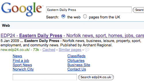 Google results with 'search-in-search' for EDP24
