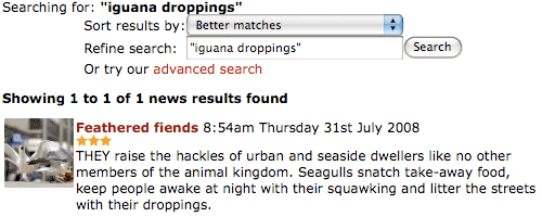 Evening Times 'iguana droppings' search results