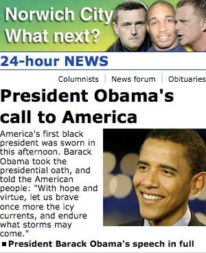Obama coverage in Norfolk's Eastern Daily Press