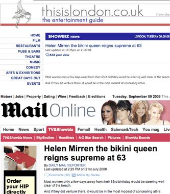 Helen Mirren's newsworthy bikini