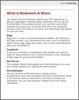 Independent social bookmarking help pop-up