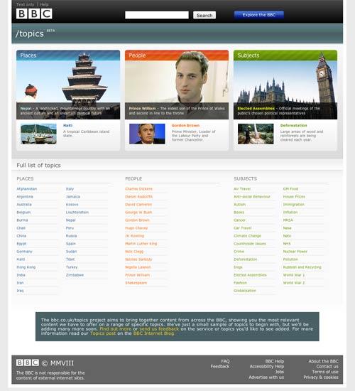 BBC Topics homepage
