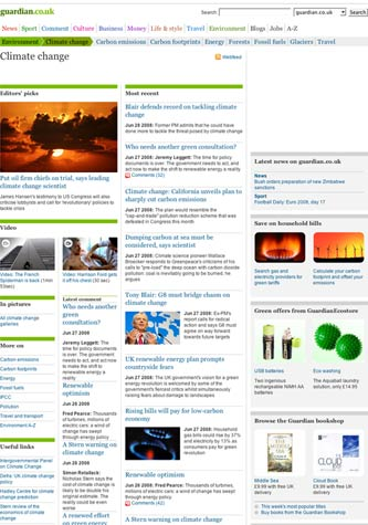 Guardian Climate Change keyword index page