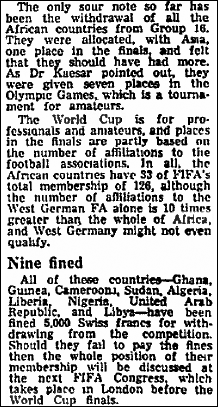 African boycott of 1996 World Cup qualifying reported in The Guardian