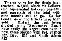 Allocation of ticket sales for the 1966 World Cup reported in The Guardian