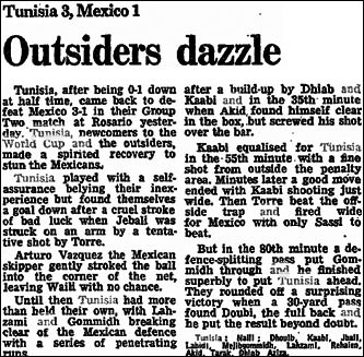 The Guardian report of Tunisia vs Mexico in the 1978 World Cup