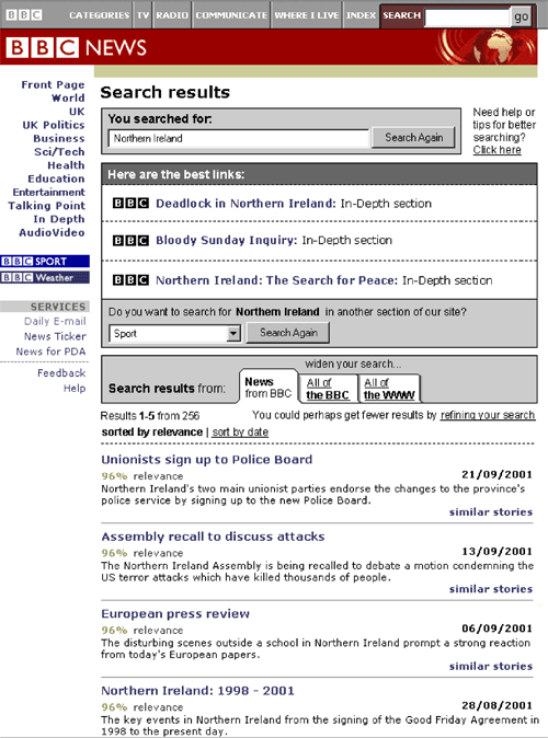September 2001 BBC News prototype