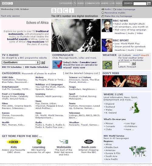 2001 BBCi Homepage