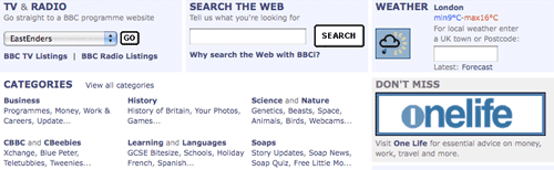 Websearch in the centre of the homepage