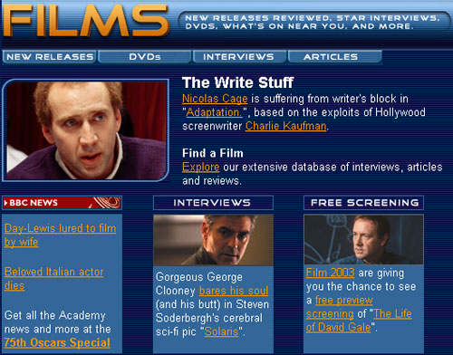 BBC Films homepage in February 2003