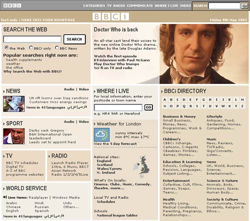 BBCi homepage in 2003 with a promo featuring Paul McGann in Shada