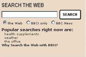 'Popular Links' on the BBCi Homepage