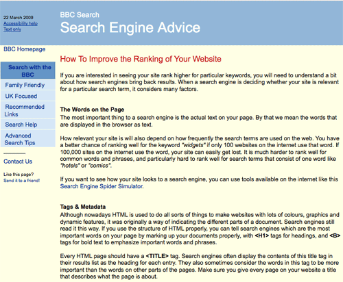 BBC search engine advice