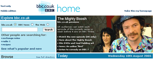 bbc.co.uk homepage with Mighty Boosh promo