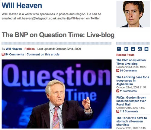Telegraph's Question Time live blog