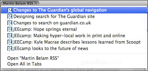 Guardian contributor live RSS bookmark