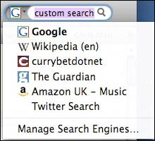 Custom search engines in a browser