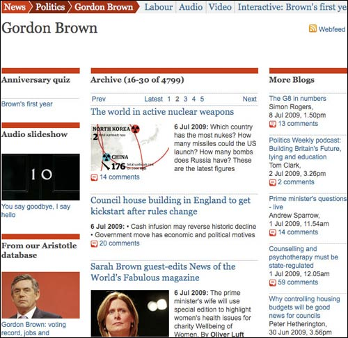 Gordon Brown keyword page in The Guardian