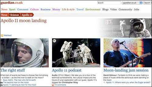 Guardian micro-site about the Apollo 11 mission