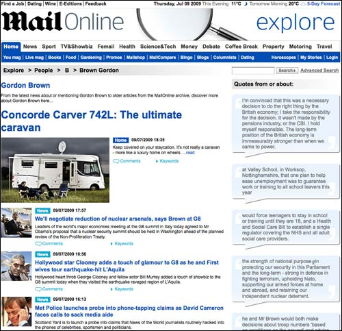 The Daily Mail's Gordon Brown page leads with a camper-van review