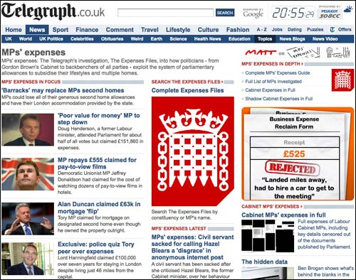 MPs Expenses topic page from The Telegraph