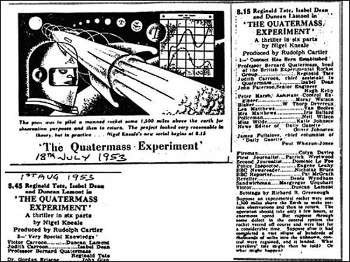 Newspaper clippings about The Quatermass Experiment