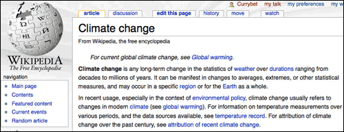 Wikipedia Climate Change page