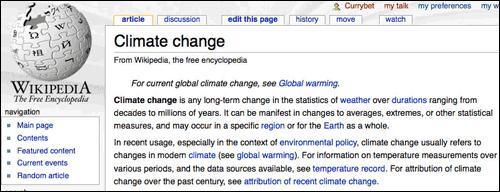 Wikipedia Climate Change page