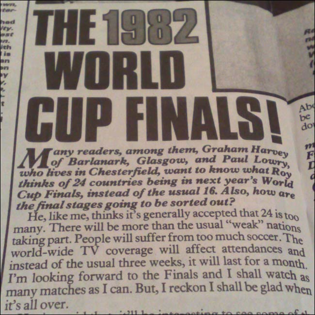 Roy of the Rovers debates the 1982 World Cup Finals