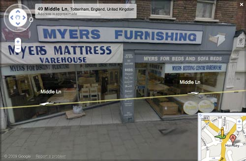 Myers showroom in Google Street View