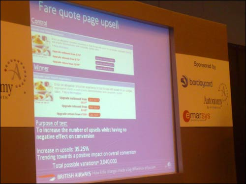 British Airways 'Fare quote upsell' page test results