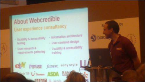 Trenton of Webcredible talks