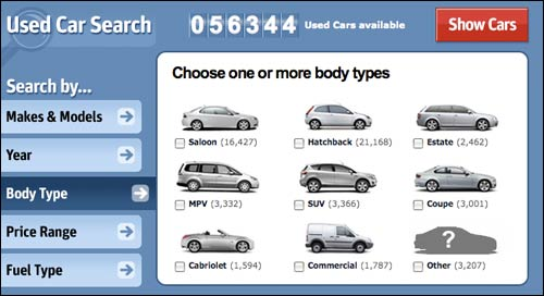 Carzone.ie body shape search
