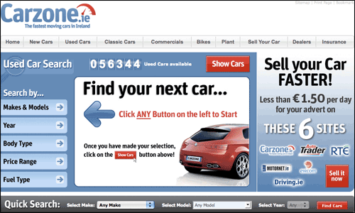 Carzone.ie homepage