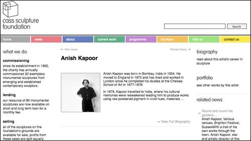 Anish Kapoor page on the Cass Sculpture website